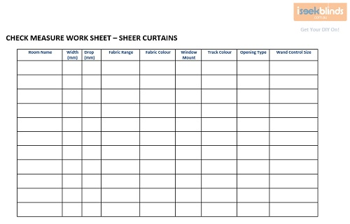 Check Measure Worksheet Curtains