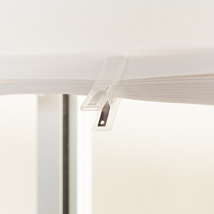 Raise or lower Temporary blinds with plastic clips
