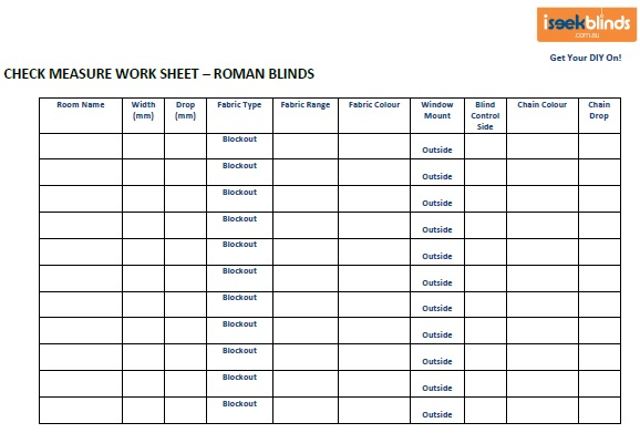Check Measure Worksheet Roman Blinds