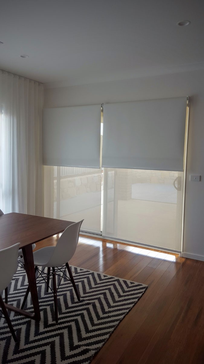 Sliding Door, Double Roller Blinds linked
